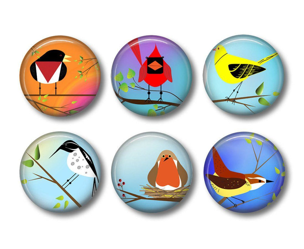 Funky Birds badges, fridge magnets - badge-bliss