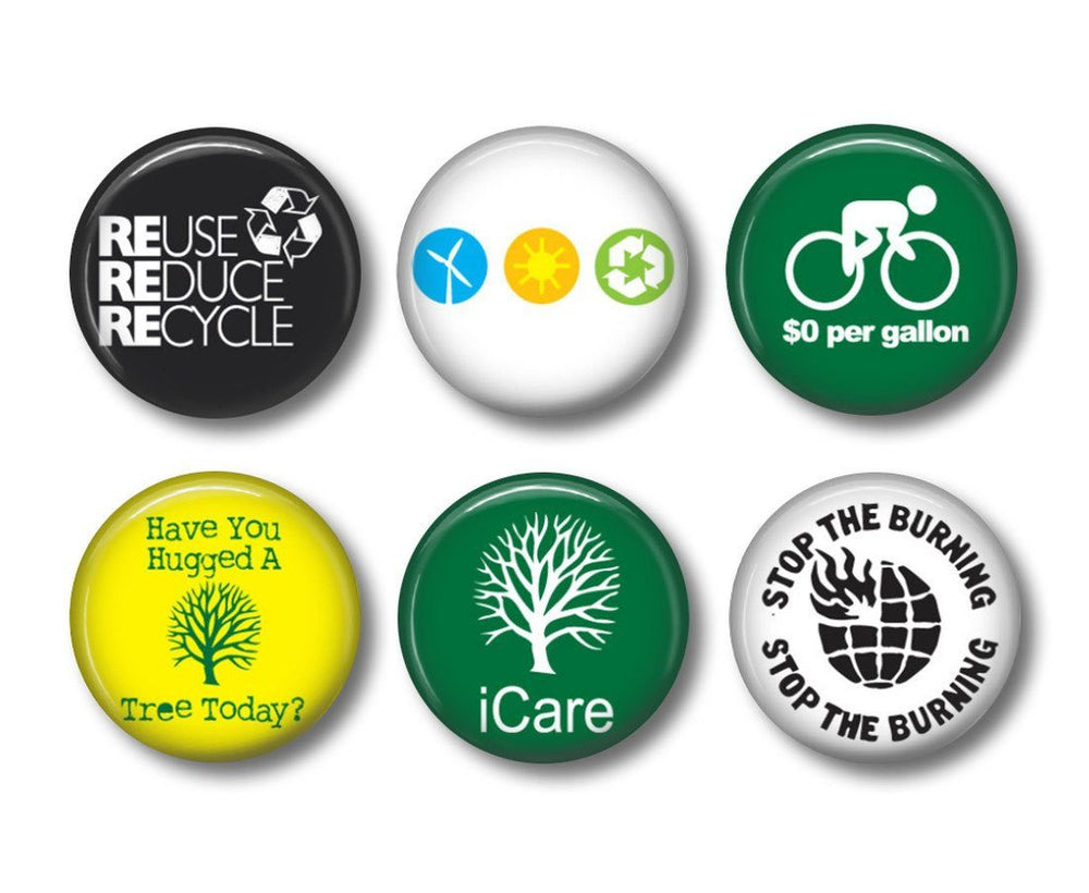 Recycle 1 badges or fridge magnets - badge-bliss