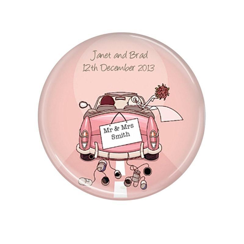 Pink Car wedding magnet favour
