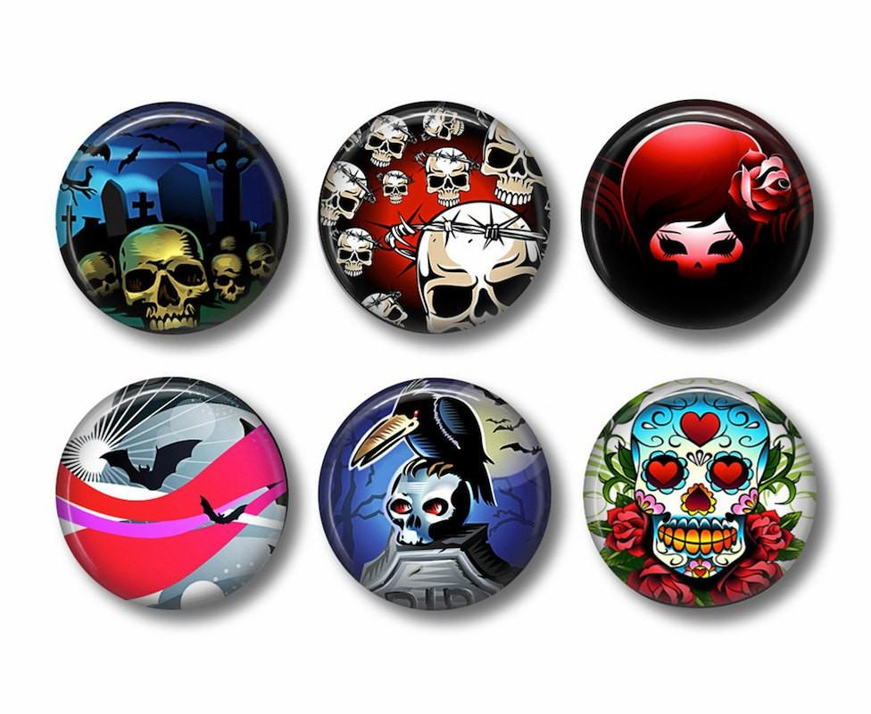 Skull badges or fridge magnets