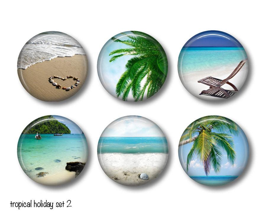 Tropical Holiday badges, fridge magnets