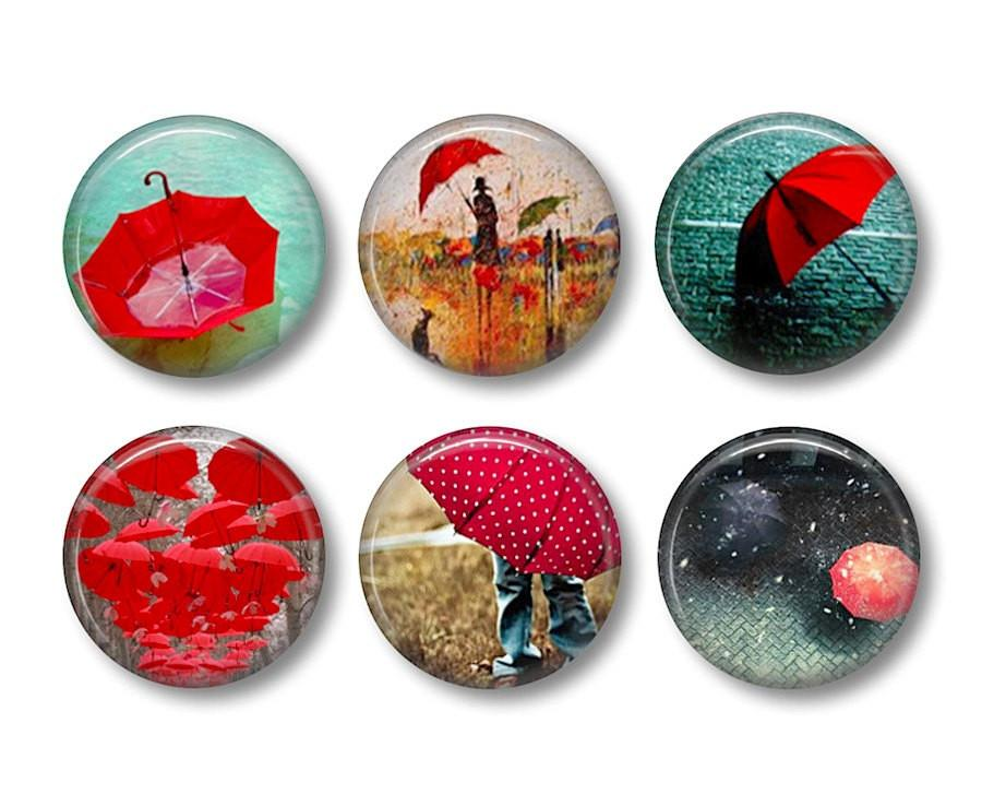 Red Umbrella badges or fridge magnets - Badge Bliss