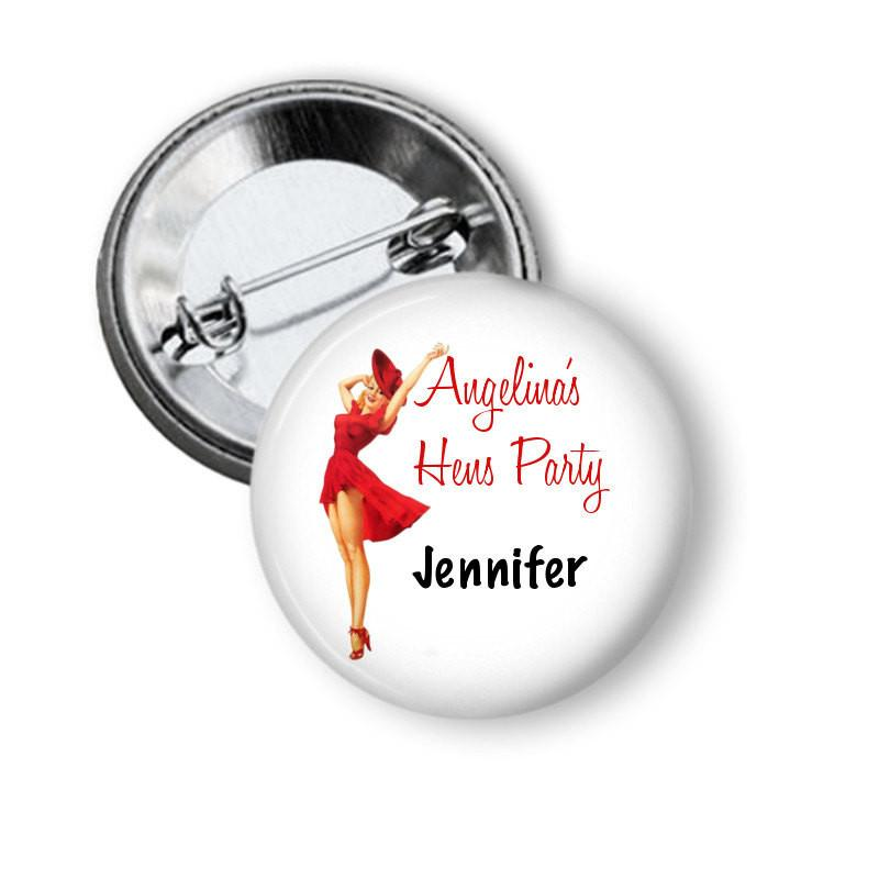 Hen party button badge Red Dress