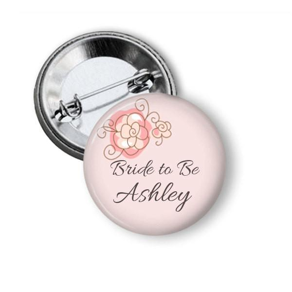 Hen party button badge, Pink Floral - badge-bliss