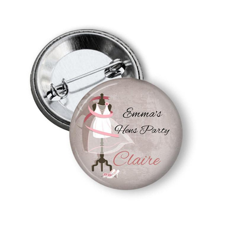 Hen party or bridal shower button badge - badge-bliss