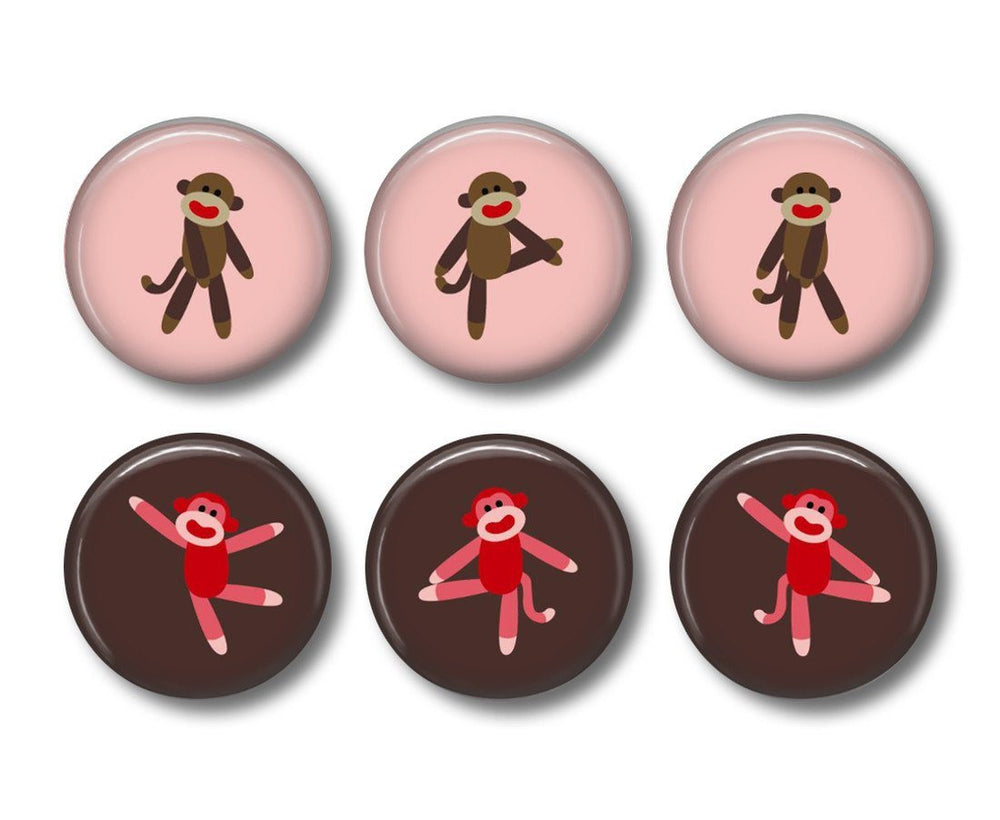 Sock Monkey pinback button badges or fridge magnets - badge-bliss