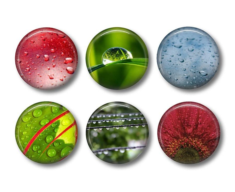 Rain Drops badges or fridge magnets - badge-bliss