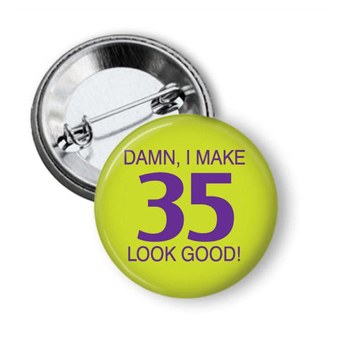 Birthday age button badge 35