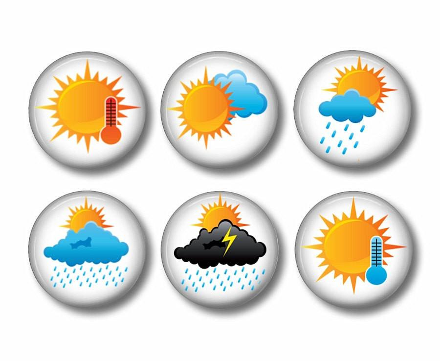 Weather badges or fridge magnets - badge-bliss