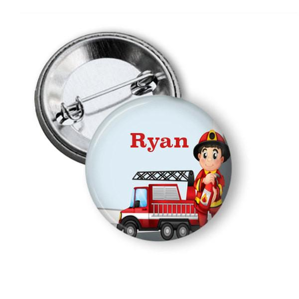 Fireman name badge, fridge magnet
