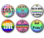 Gay Equality badges, fridge magnets