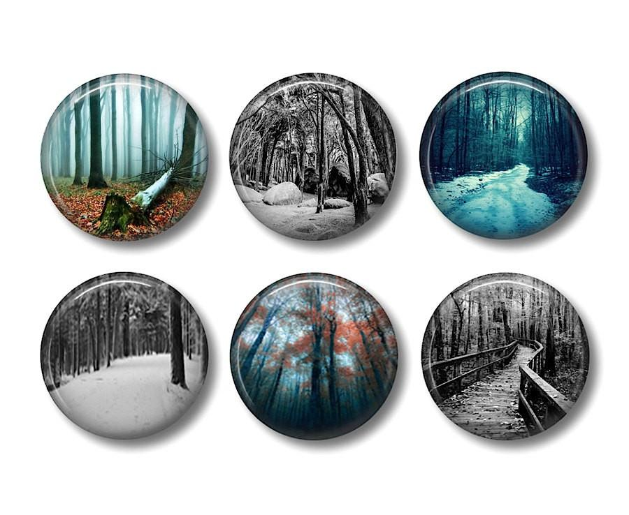 Dark forest badges or fridge magnets - Badge Bliss