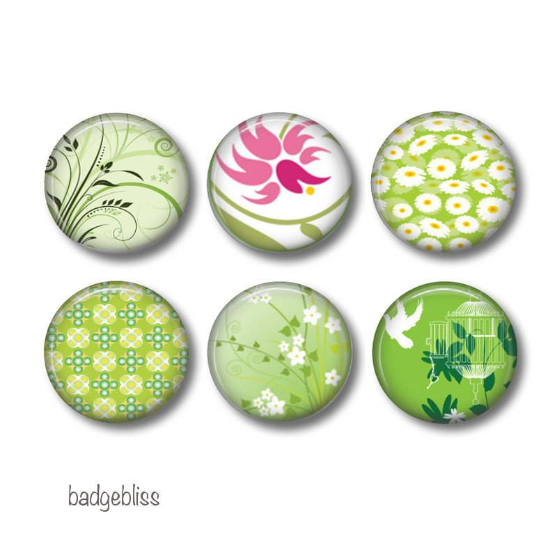 Green Floral badges, fridge magnets - badge-bliss