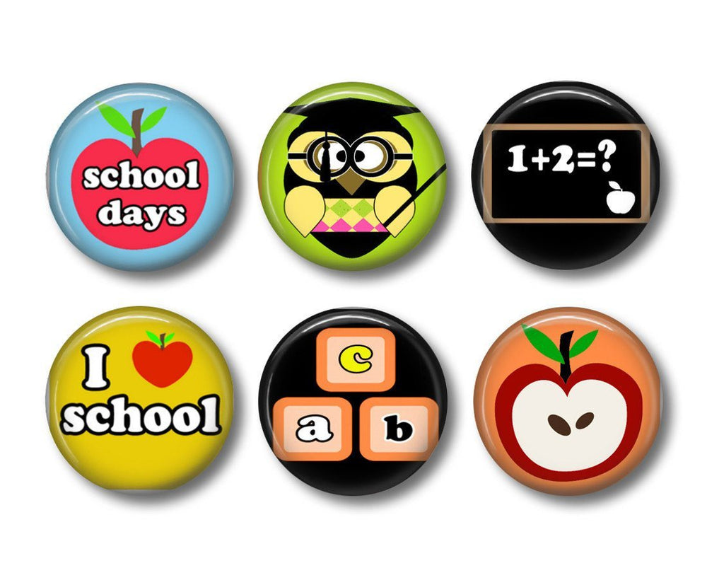 School days badges or fridge magnets