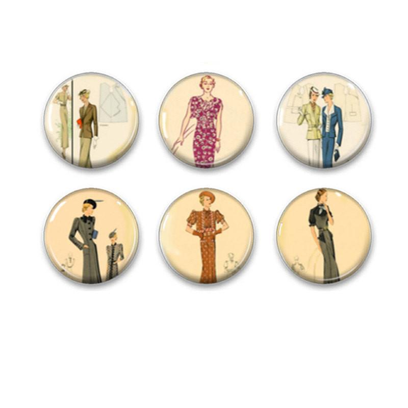 Ladies fashion badges, fridge magnets - Badge Bliss