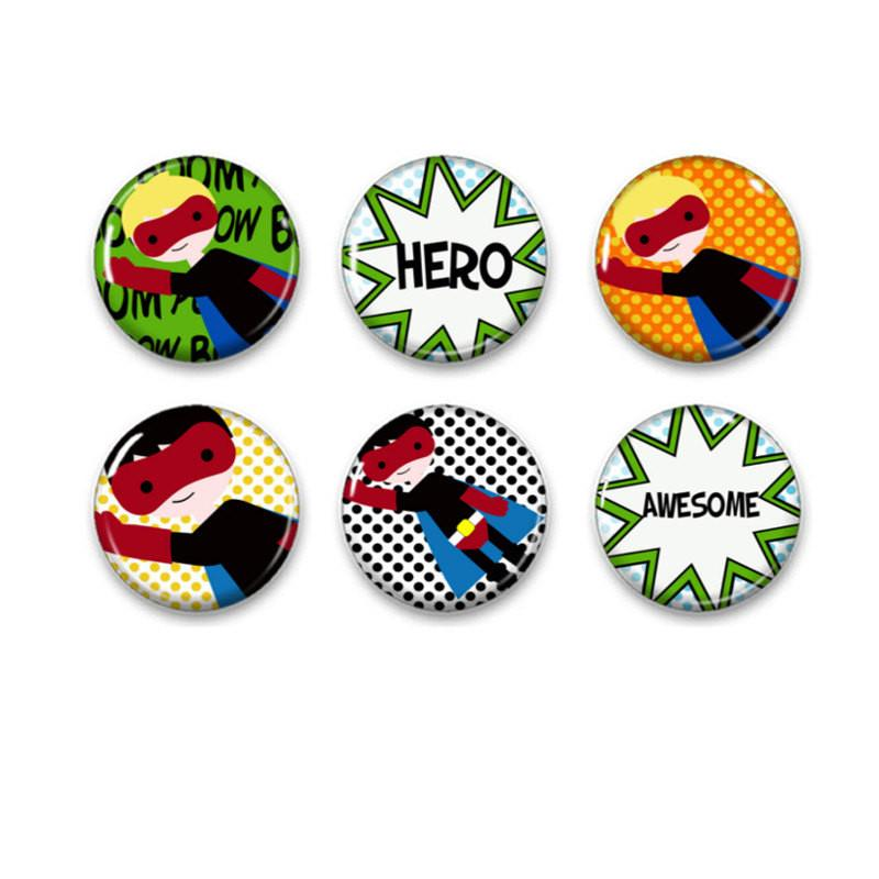 Superhero badges or fridge magnets - badge-bliss