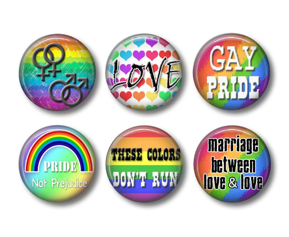 Gay Pride badges or fridge magnets - badge-bliss