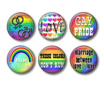 Gay Pride badges or fridge magnets