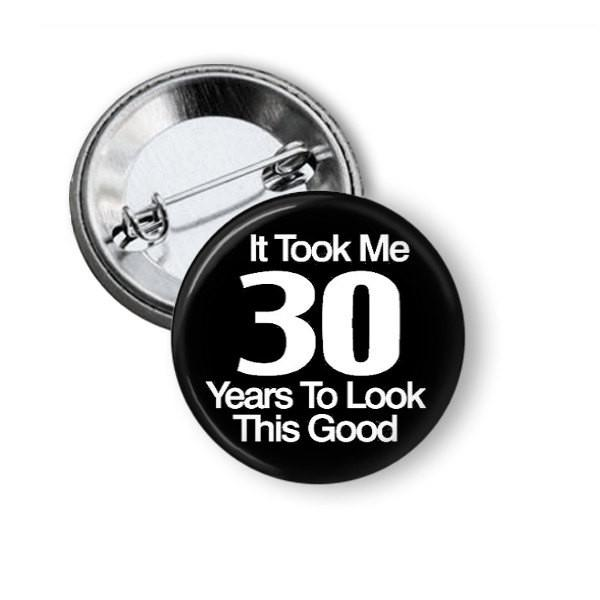 Black 30th Birthday button badge