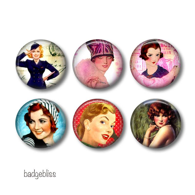Retro Ladies badges or fridge magnets