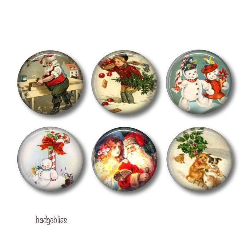 Pinback button badges or fridge magnets Christmas - Badge Bliss