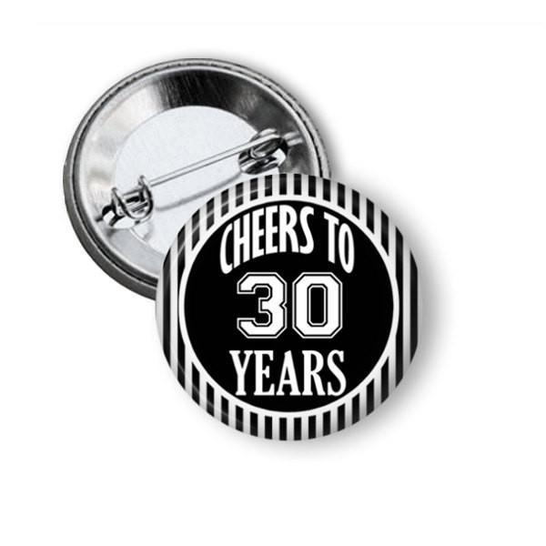 Birthday button badge 30