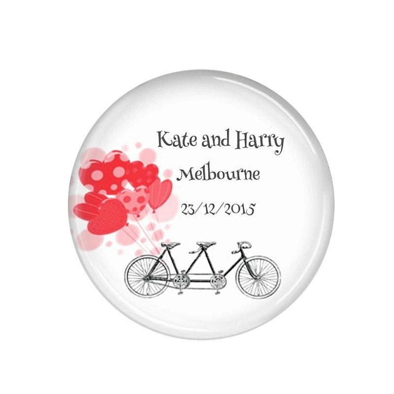 Wedding favour fridge magnets Bicycle