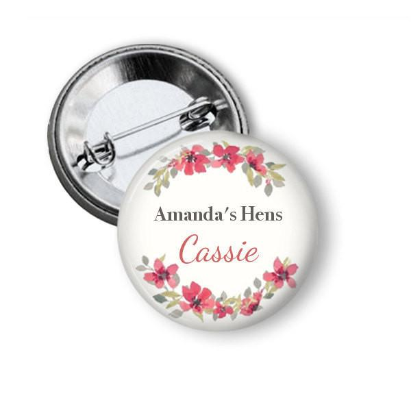 Floral Wreath hen party button badge - badge-bliss