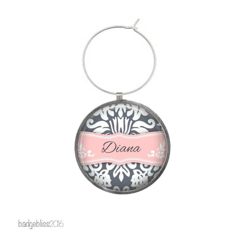 Wine glass charm personalised damask - Badge Bliss