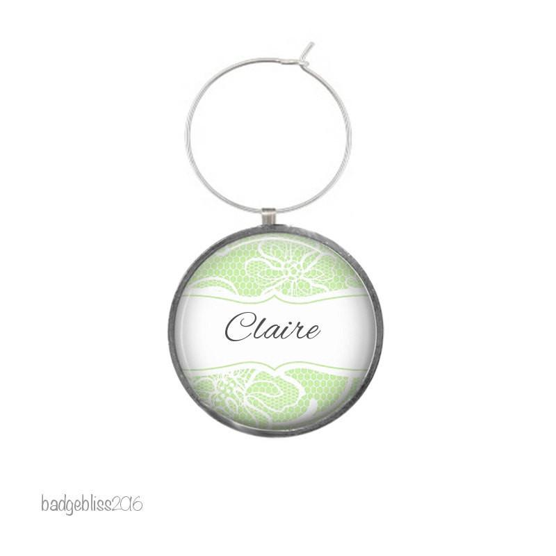 Personalised lace design wine glass charms - badge-bliss