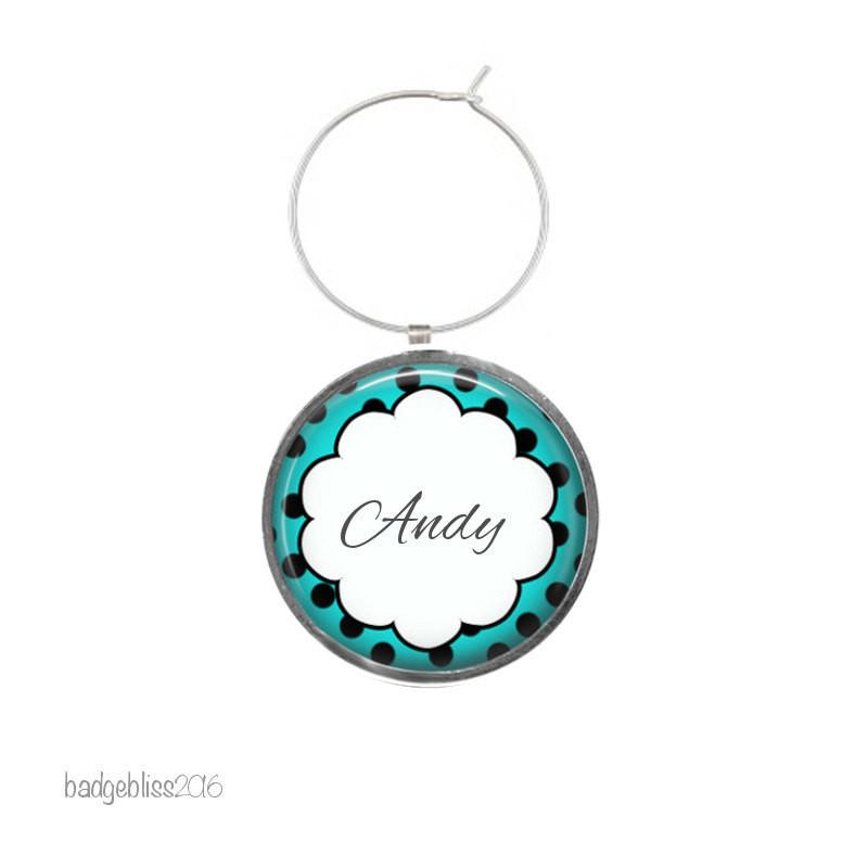 Personalised polka dot wine glass charm - badge-bliss