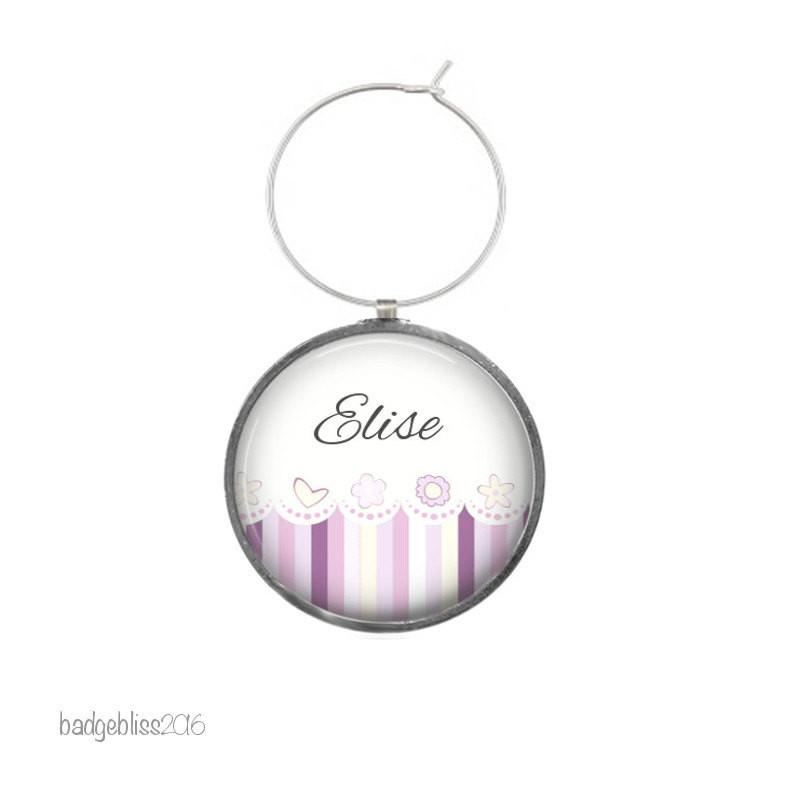 Personalised purple wine glass charms - Badge Bliss