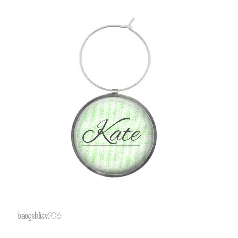 Wine glass charms 6 personalised wine glass charms - badge-bliss
