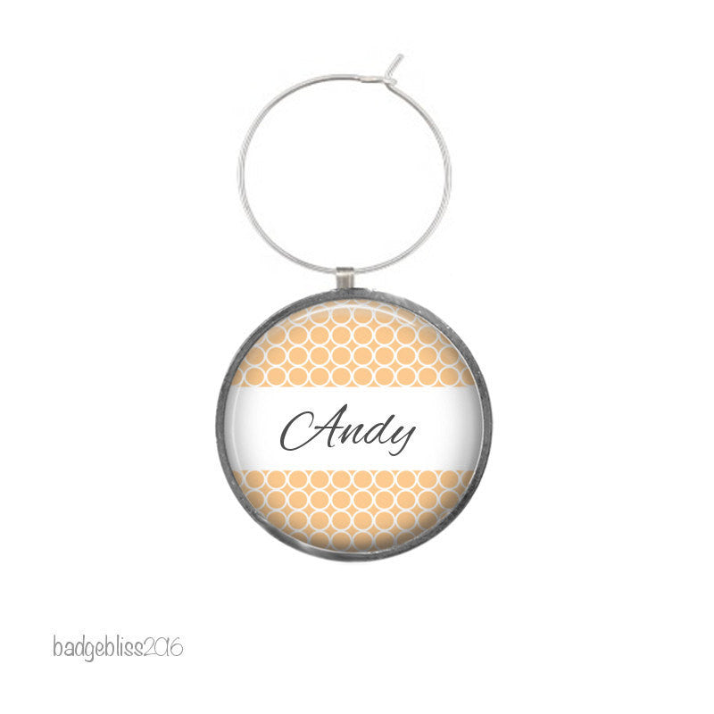 Wine glass charm personalised Honeycomb - badge-bliss