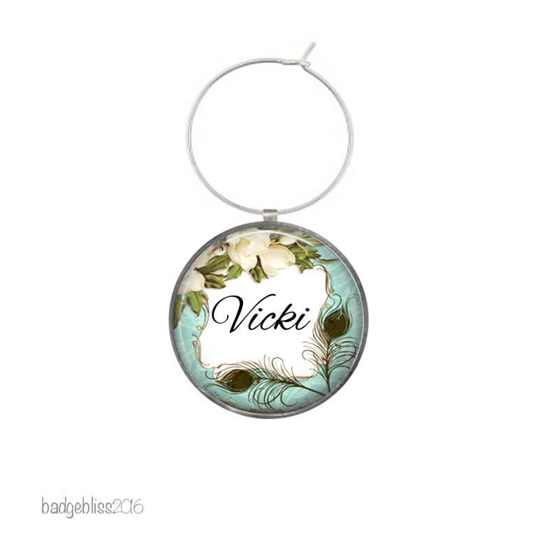 Personalised peacock wine glass charm - badge-bliss