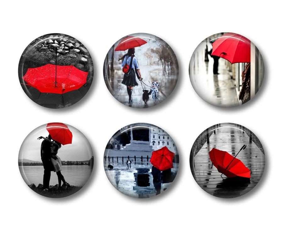 Red Umbrella badges or fridge magnets - badge-bliss