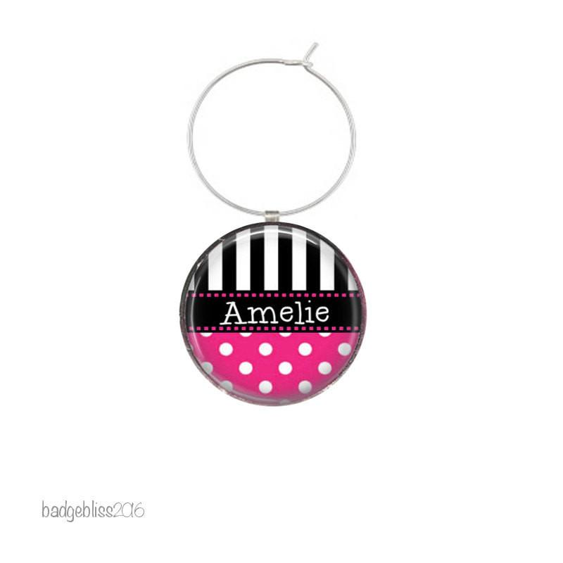 Personalised wine glass charms polka dot