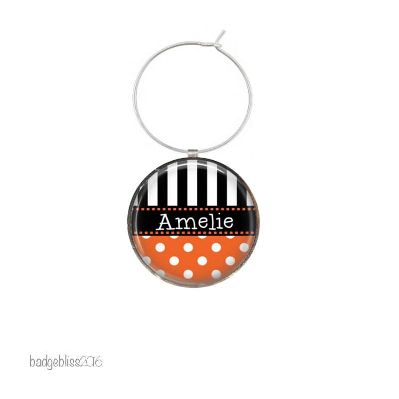 Personalised wine glass charms polka dot - badge-bliss