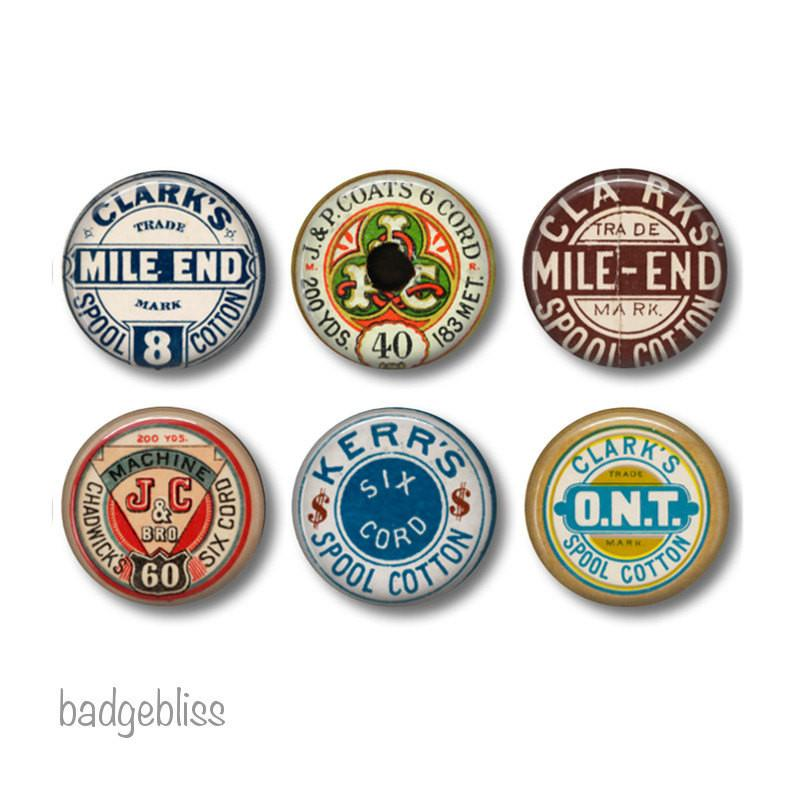 Sewing thread badges or fridge magnets - badge-bliss