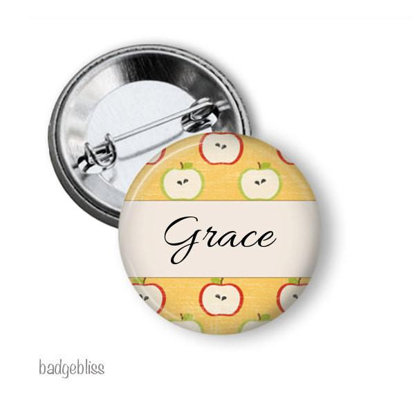 Apple personalised button badge - badge-bliss