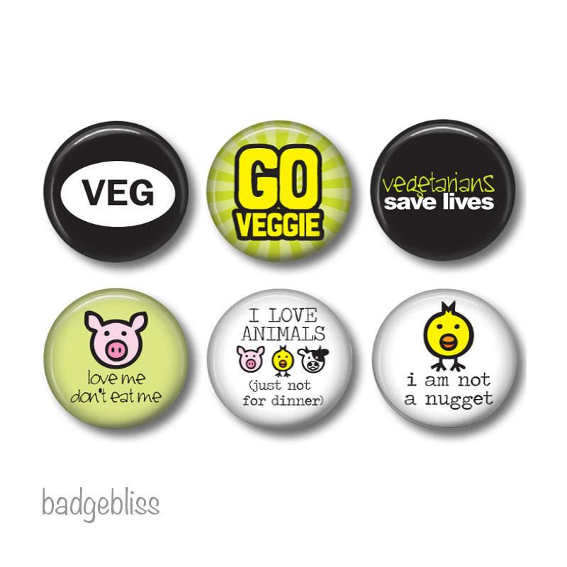 Vegan/vegetarian badges or fridge magnets - badge-bliss
