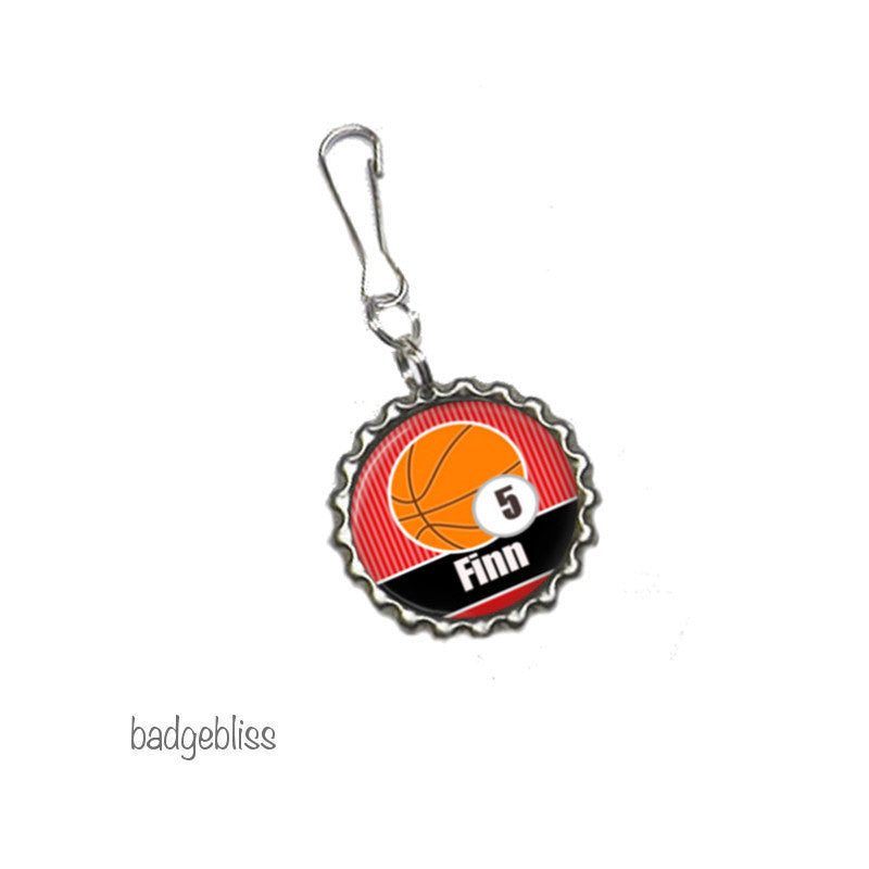Zip pull, bag charm, Basketball - Badge Bliss