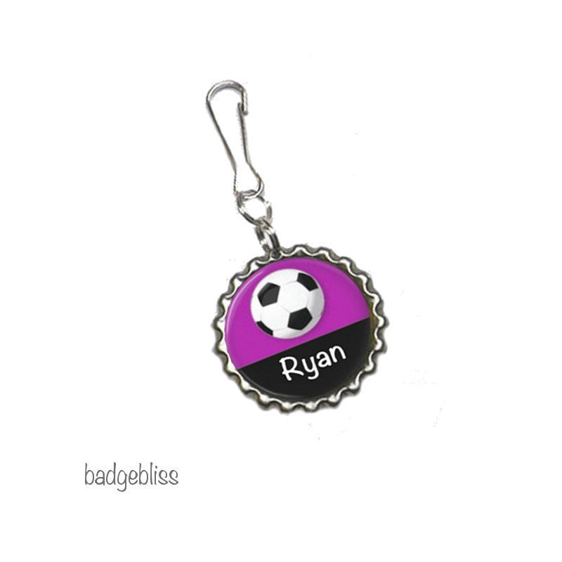 Zipper pull, bag charm, Football, Soccer - Badge Bliss