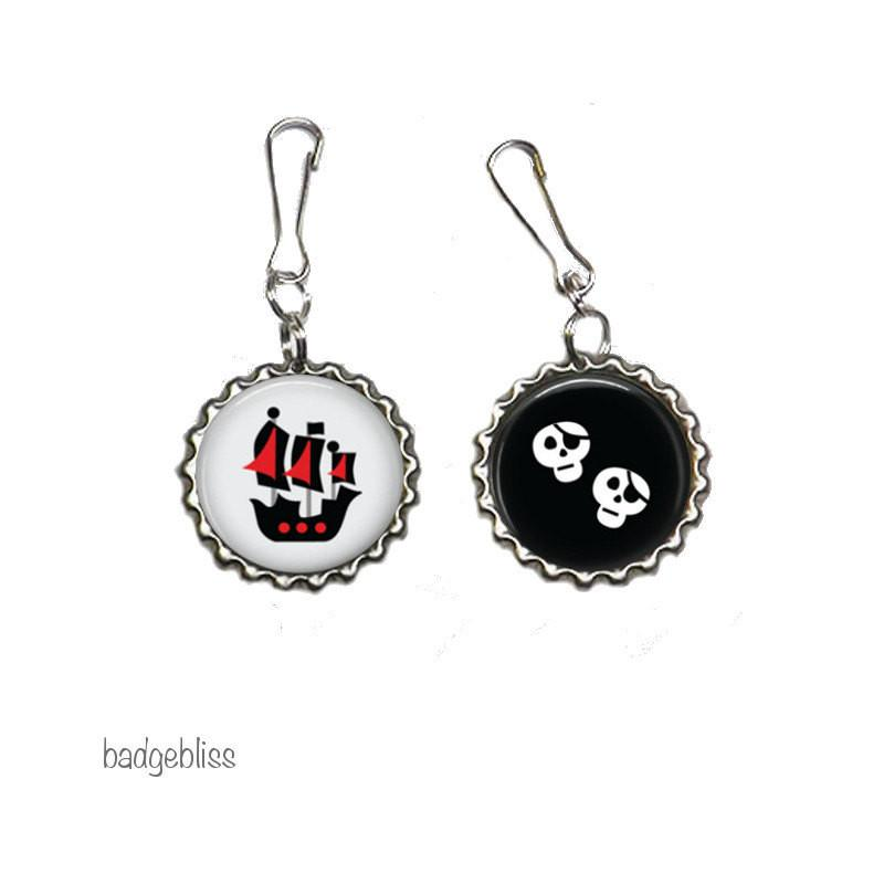 Pirate zipper pull pack of 2 - badge-bliss