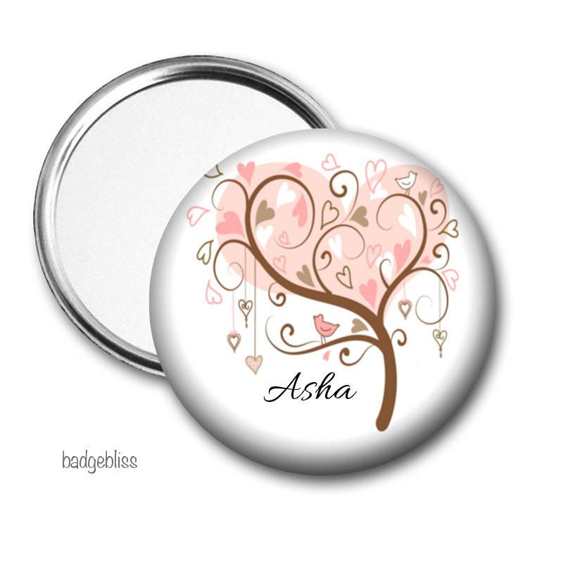 Personalised Pocket mirror Pink Tree - badge-bliss