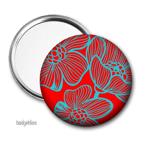 Red and blue floral pocket mirror - Badge Bliss
