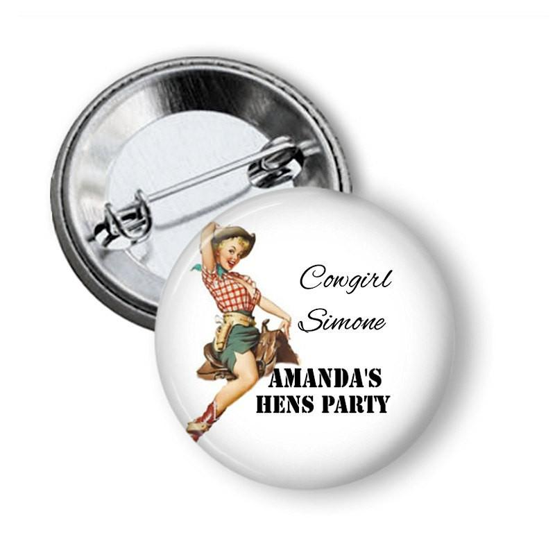 Cowgirl hen party button badge