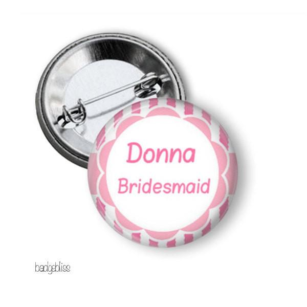 Pink hen party button badge