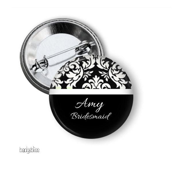 Hen party button badge black