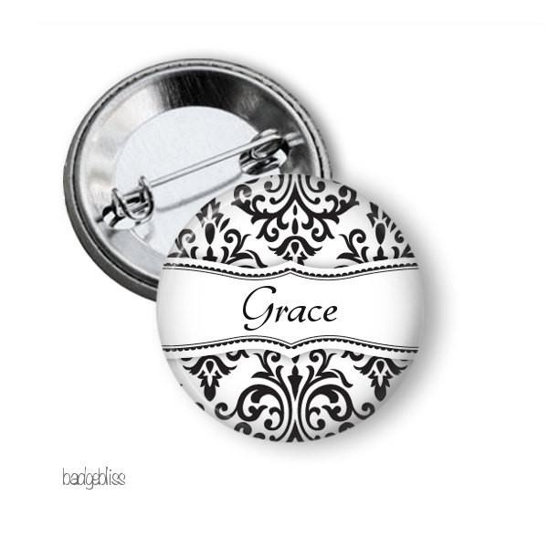 Hen party button badge black damask